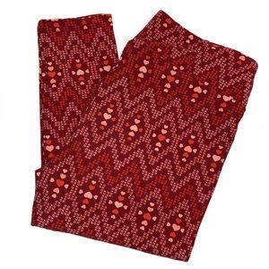 Lularoe Leggings Tall Curvy Red Pink Hearts XOXO